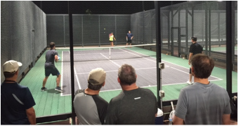 Kelly english Luke White Doug Jones Lawrence Gamblin play finals of the Platform Tennis League AB Tournament